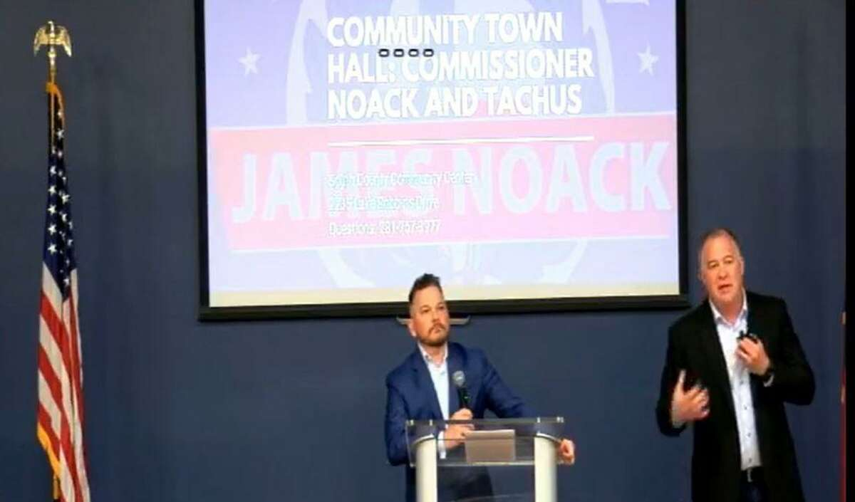 Officials from Tachus high-speed fiber optic internet firm and Montgomery County gathered for a recent public forum about the company's recent utility work in the township. The forum was organized by Montgomery County Precinct 3 Commissioner James Noack.