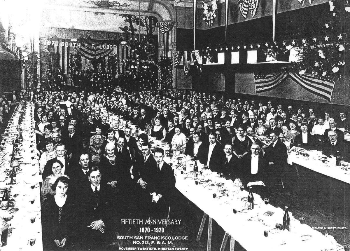 A photo of the South San Francisco Masonic Lodge's 50th anniversary celebration at the Bayview Opera House, then the South San Francisco Opera House, in 1920.