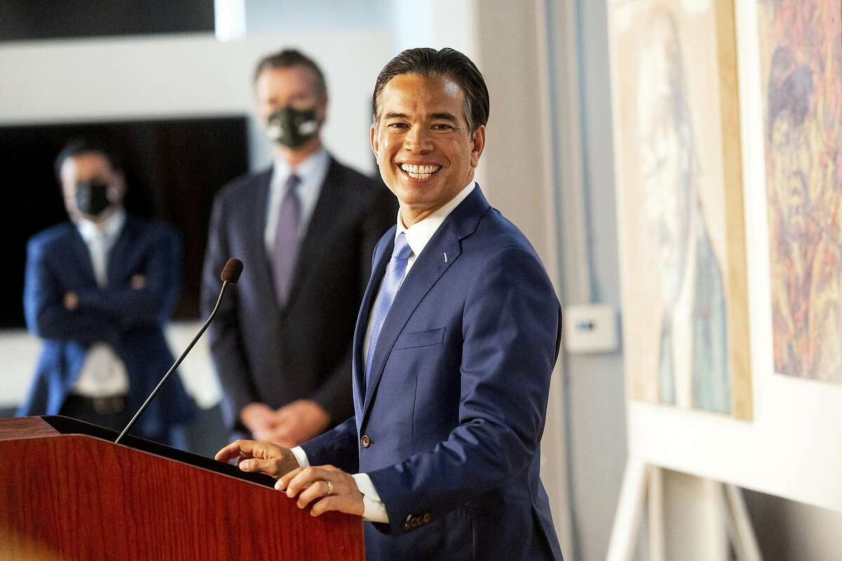 Assembly- man Rob Bonta of Alameda speaks shortly after Gov. Gavin Newsom announced his nomination to be California attorney general.