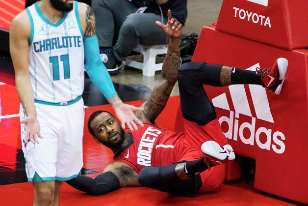 Houston Rockets guard John Wall (1) gestures for a foul call during the second quarter of an NBA game between the Houston Rockets and Charlotte Hornets on Wednesday, March 24, 2021, at Toyota Center in Houston. Photo: Mark Mulligan, Staff Photographer / © 2021 Mark Mulligan / Houston Chronicle