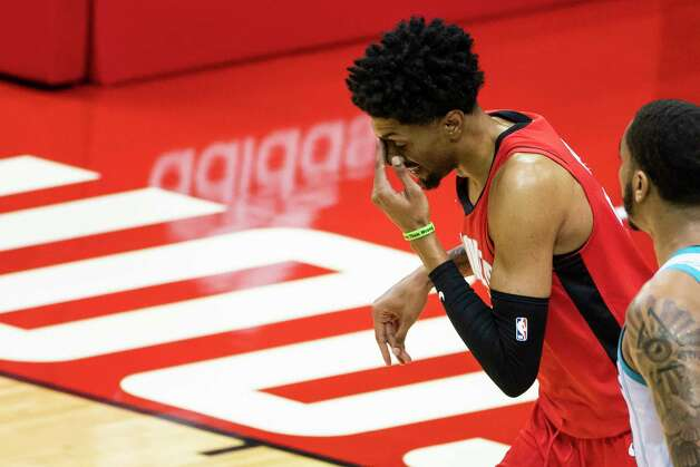 Houston Rockets center Christian Wood (35) reacts after missing a three point shot during the first quarter of an NBA game between the Houston Rockets and Charlotte Hornets on Wednesday, March 24, 2021, at Toyota Center in Houston. Photo: Mark Mulligan, Staff Photographer / © 2021 Mark Mulligan / Houston Chronicle