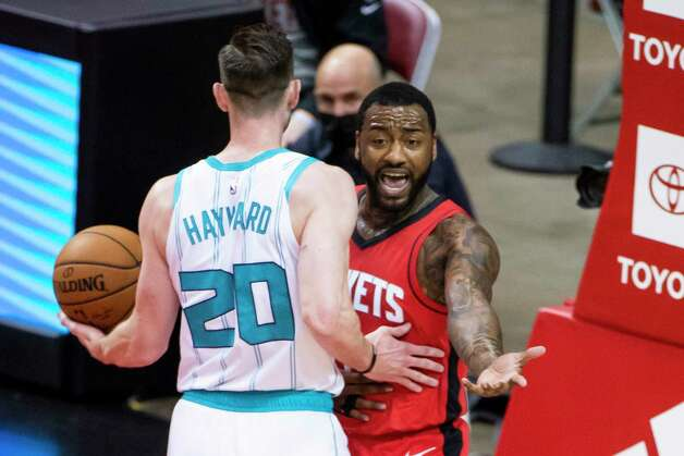 Houston Rockets guard John Wall (1) asks for a foul call after making a basket during the first quarter of an NBA game between the Houston Rockets and Charlotte Hornets on Wednesday, March 24, 2021, at Toyota Center in Houston. Photo: Mark Mulligan, Staff Photographer / © 2021 Mark Mulligan / Houston Chronicle