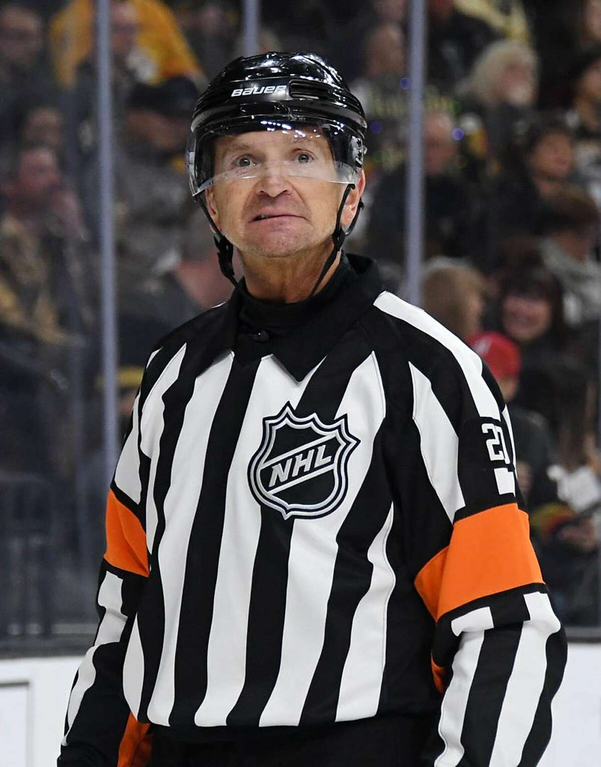 Referee Tim Peel skates during a break in the second period of a game between the Nashville Predators and the Vegas Golden Knights at T-Mobile Arena on February 16, 2019 in Las Vegas, Nevada. The Golden Knights defeated the Predators 5-1. (Photo by Ethan Miller/Getty Images/TNS)