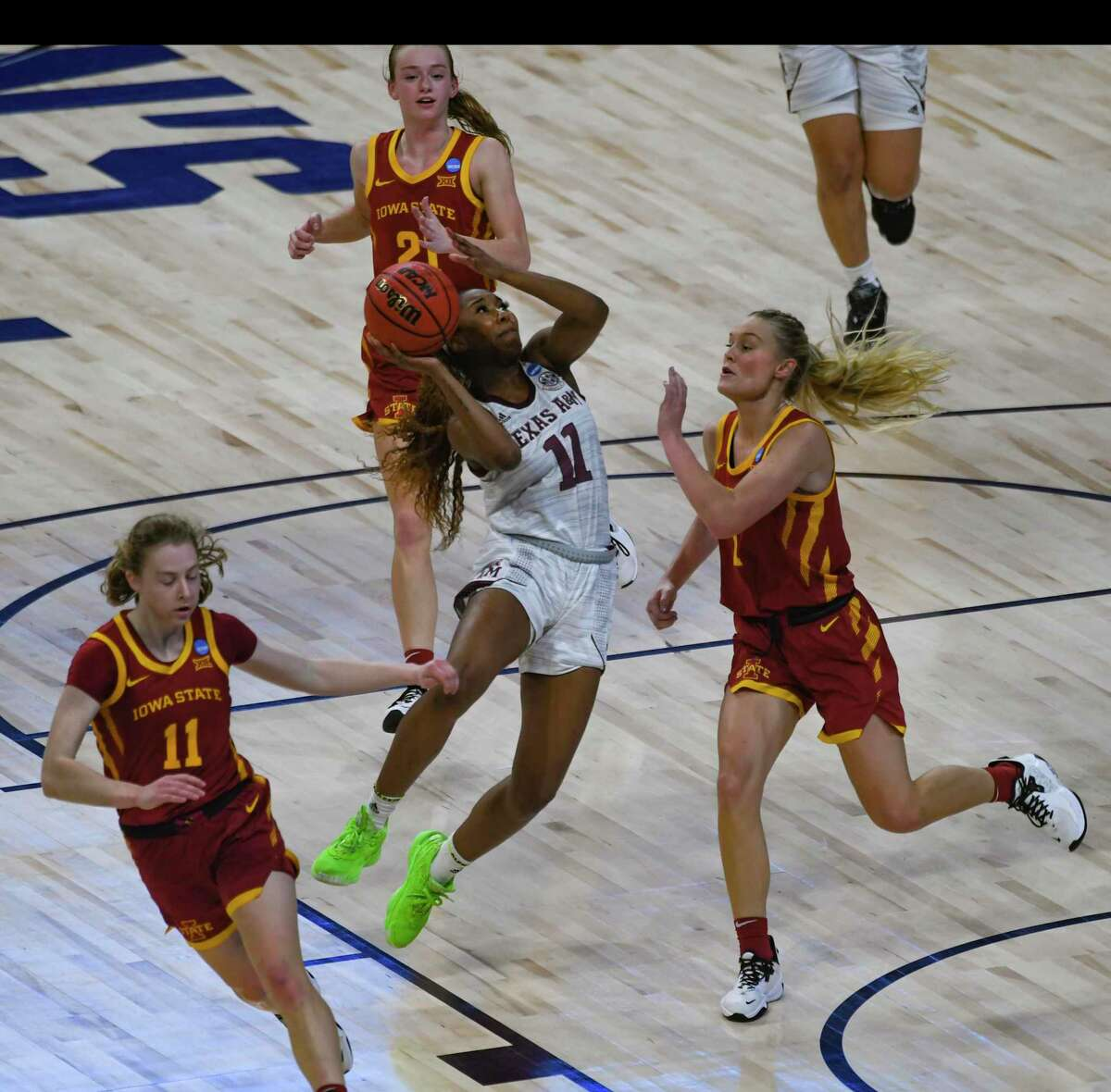 Kayla Wells of Texas A&M shoots against Iowa State during the team's 84-82 overtime victory in the NCAA Women's Basketball Championship tournament to advance to the Sweet 16 in the Alamodome on Wednesday, March 24, 2021.