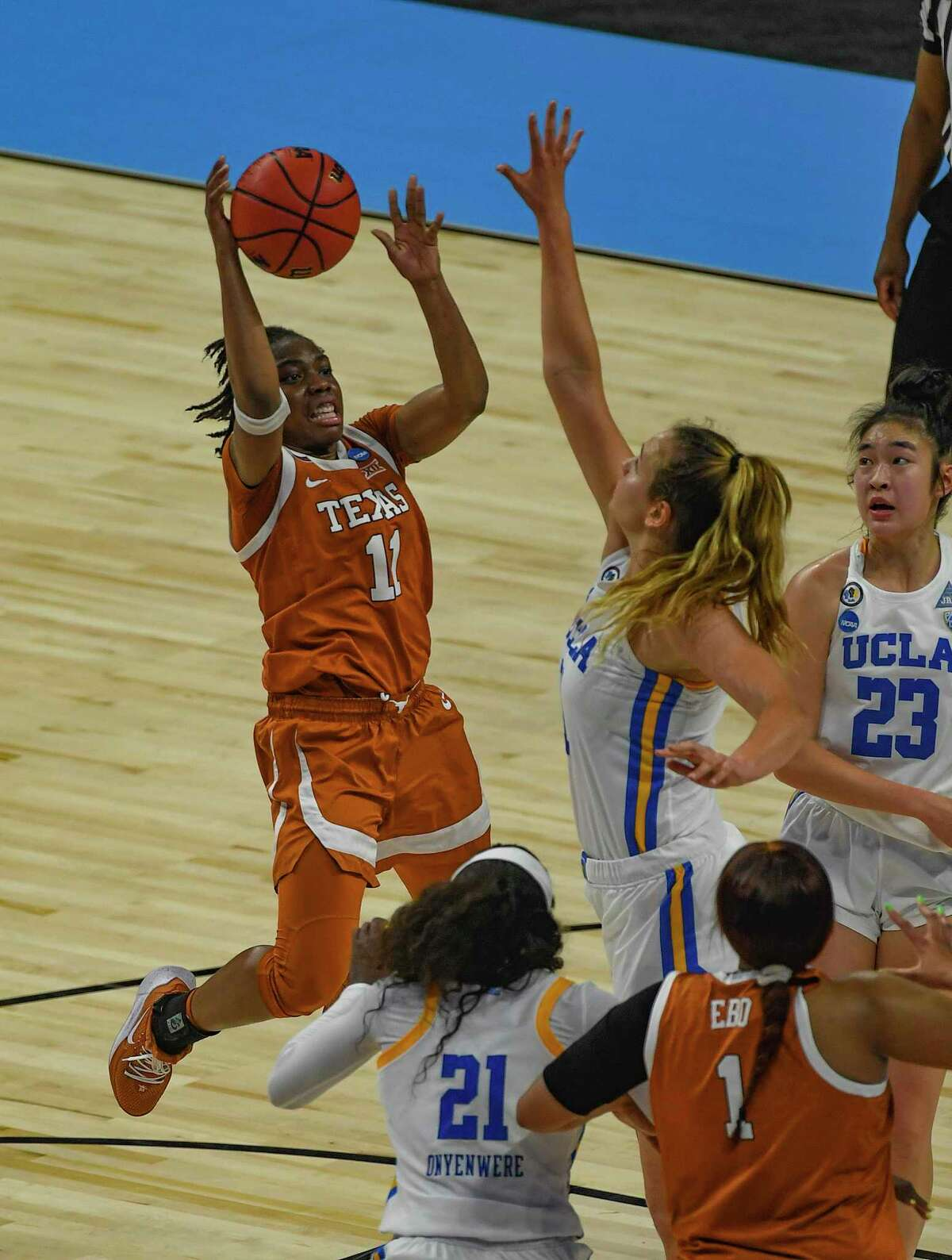 Joanne Allen-Taylor reaches for the ball during action against UCLA in the NCAA Women's Basketball Championship tournament in the Alamodome on Wednesday, March 24, 2021.