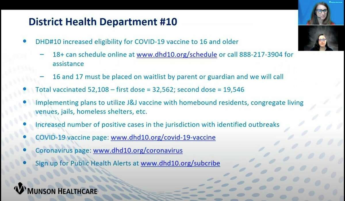 Dr. Jennifer Morse, DHD#10 medical director spoke about local COVID-19 outbreaks across her organization's 10 county jurisdiction at a virtual press conference hosted by Munson Healthcare Tuesday. (Courtesy Screenshot)