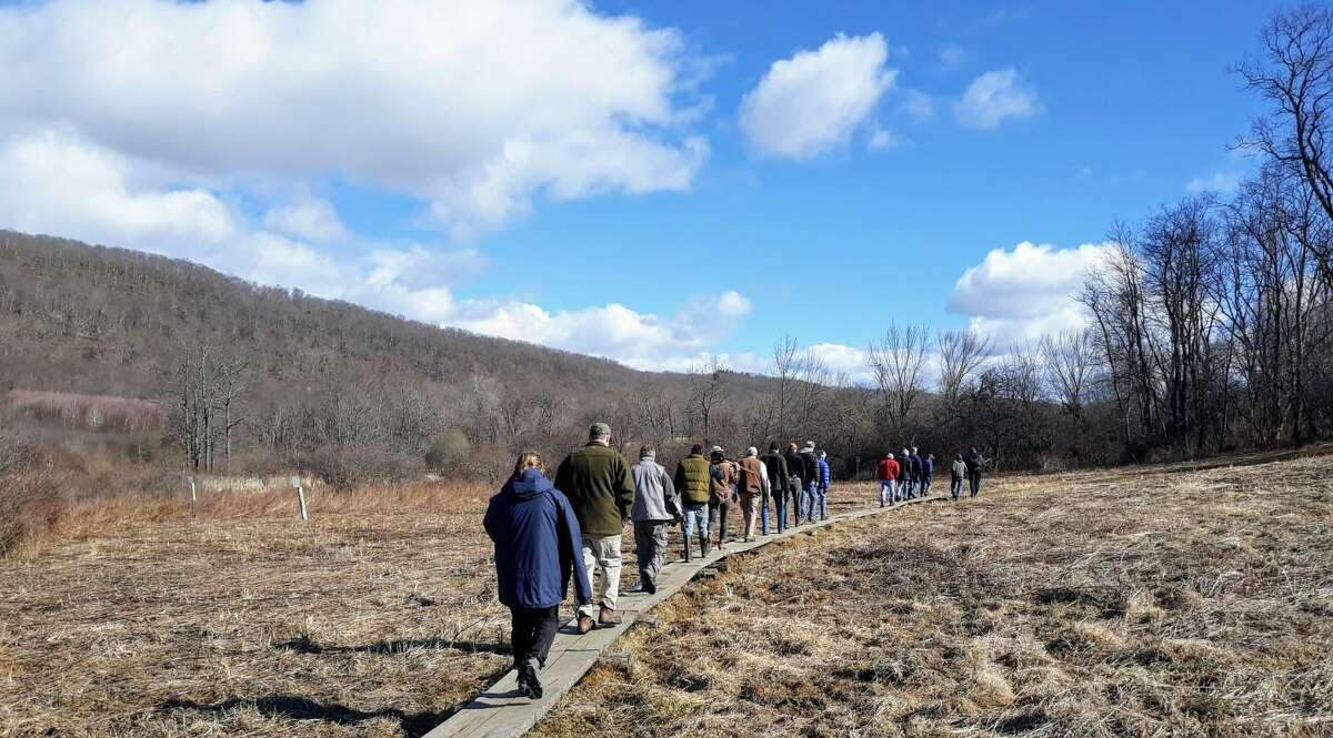Trail Managers venture outside during the 2019 training session at Macricostas Preserve.