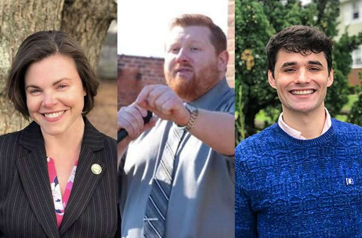 Lauren Garrett, Brad Macdowall and Peter Cyr are all seeking the Democratic endorsement to run for mayor of Hamden in 2021. From left to right, photos contributed by Scott D. Friedman, Peter O'Neill for Essex Productions and Peter Cyr.