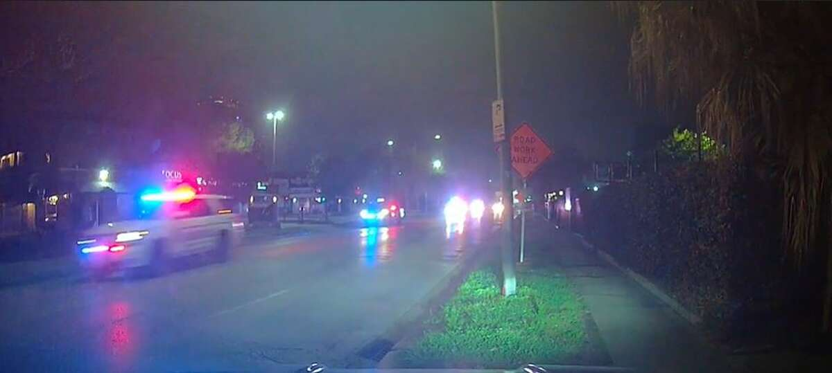 Harris County Precinct 5 deputies chasing a suspect through Houston early Thursday. The pursuit ended in a standoff near Schulenburg on Interstate 10.