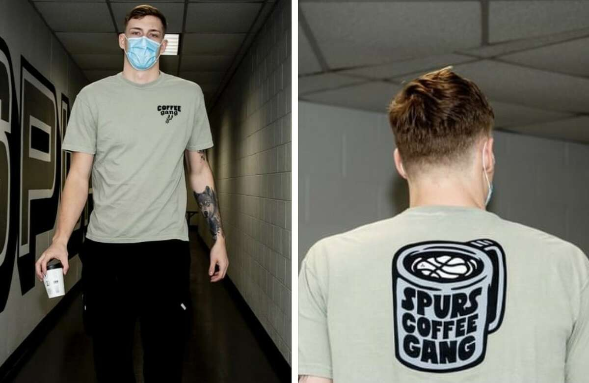 Well, sort of. Diehards will be able to wear matching merchandise, at least. After teasing the new products earlier this week, Spurs confirmed to MySA Friday that a limited edition line of Coffee Gang novelty items including t-shirts, hats, stickers and mugs will be up for grabs starting April 1.