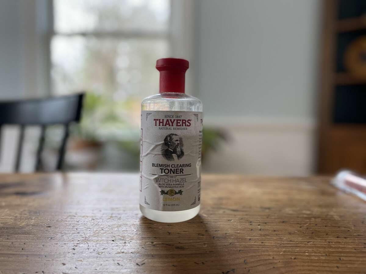 A bottle of Thayers facial toner, made from witch hazel grown in Fairfield County, Conn.