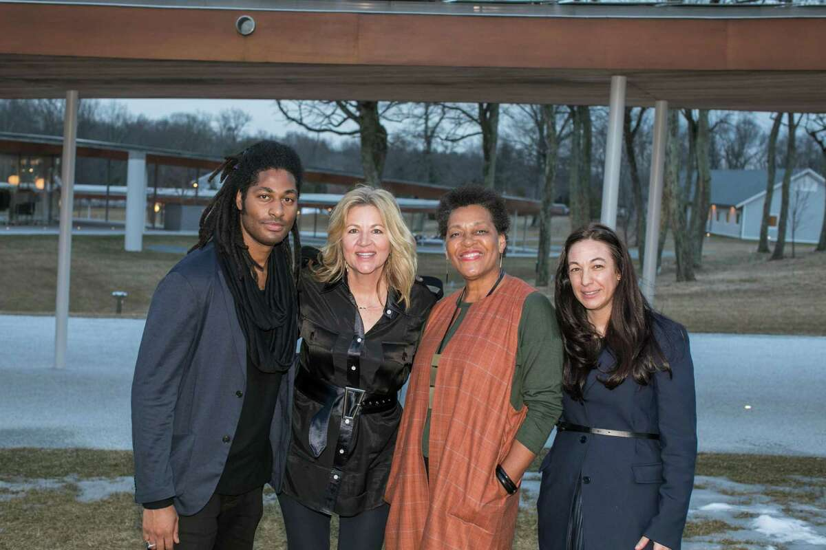 From left, Grace Farms Foundation's Arts Initiative Creative Director Kenyon Victor Adams, founder and CEO Sharon Prince, artist and activist Carrie Mae Weems and Pamela Ruggio, Grace Farms Foundation Arts Initiative Curator.