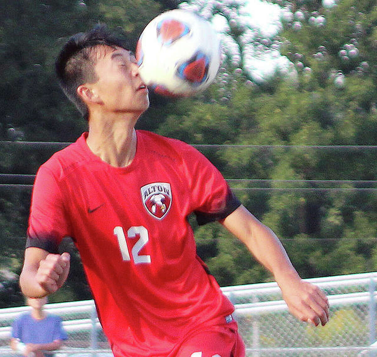 Alton's Adam Wong had an assist on Alton's goal in a 3-1 loss to Collinsville Wednesday night at AHS. Wong is pictured during a game against Edwardsville last season.