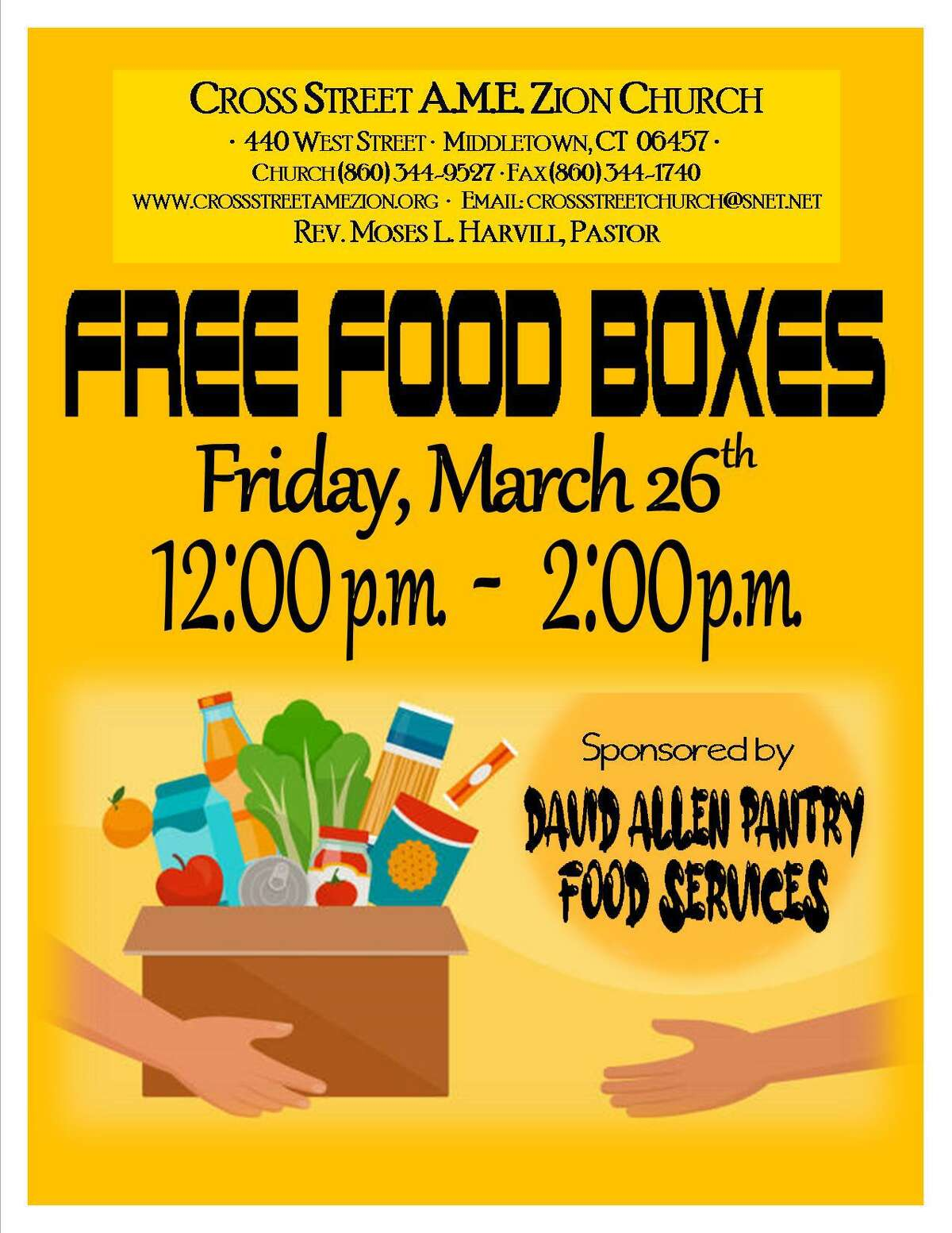 Cross Street AME Zion Church, 440 West St., Middletown, will be giving away free boxes of food Friday.
