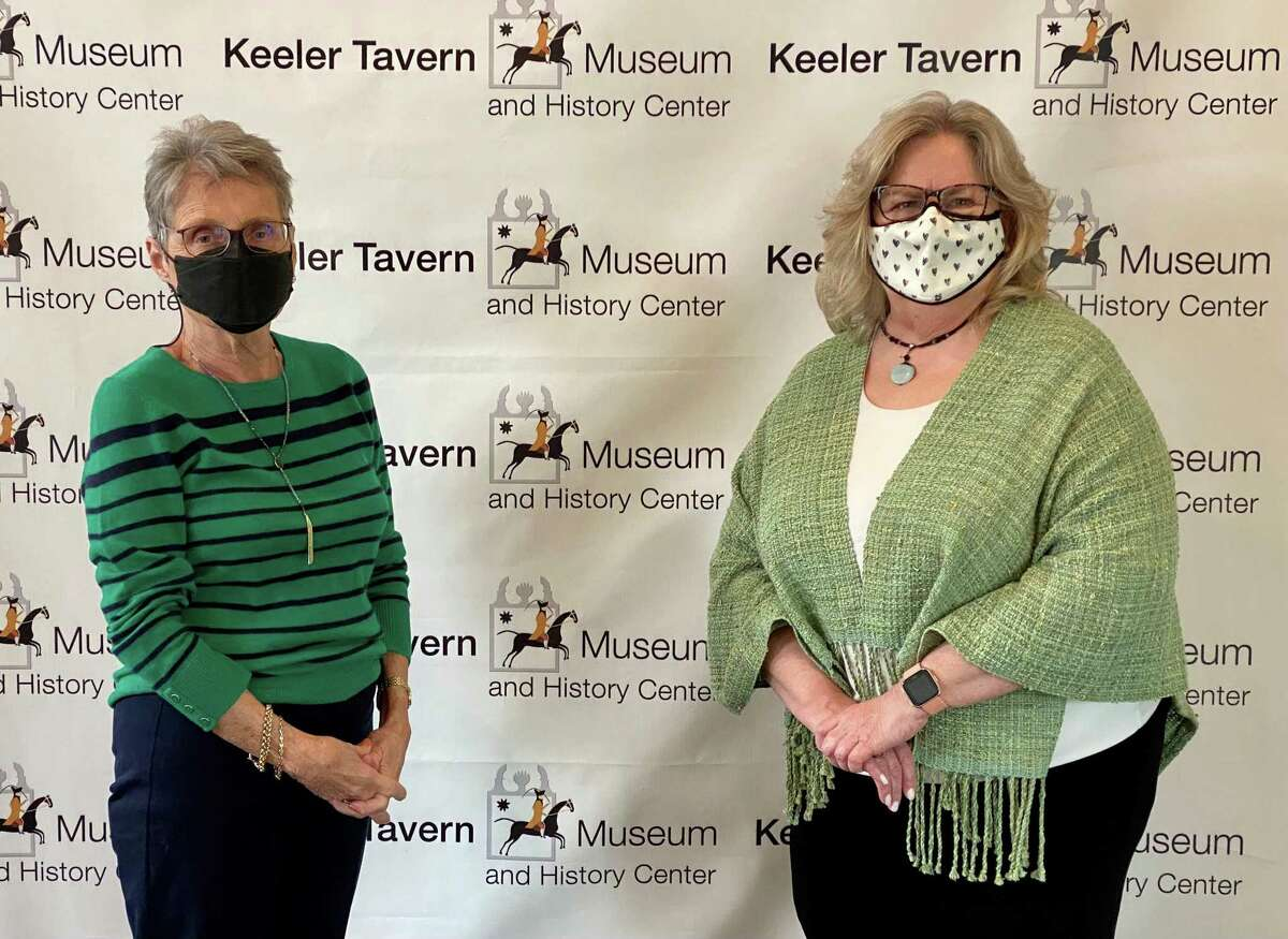 Joyce Ligi, left, Advisory Committee member of the Wadsworth Lewis Fund, awarded Keeler Tavern Museum & History Center - represented by board president Rhonda Hill, right - a grant to support the museum's virtual programming.