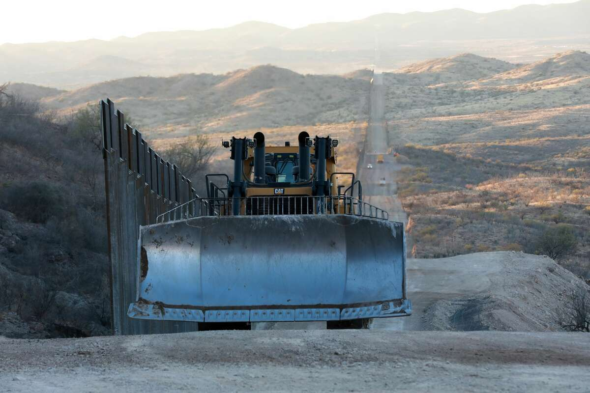 Construction continues along the border wall with Mexico championed by U.S. President Donald Trump on January 12, 2021 in Sasabe, Arizona.