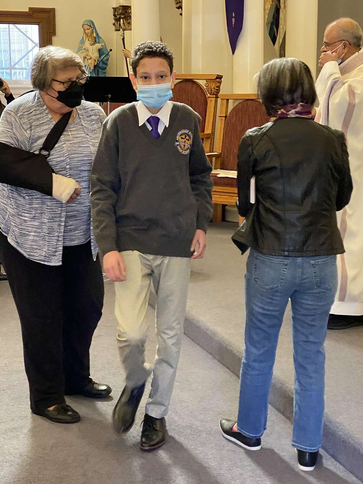 The confirmation of Aidan Timothy Francis Fisher-Paulson at St. John the Evangelist Catholic Church in San Francisco on Saturday, March 20, 2021.