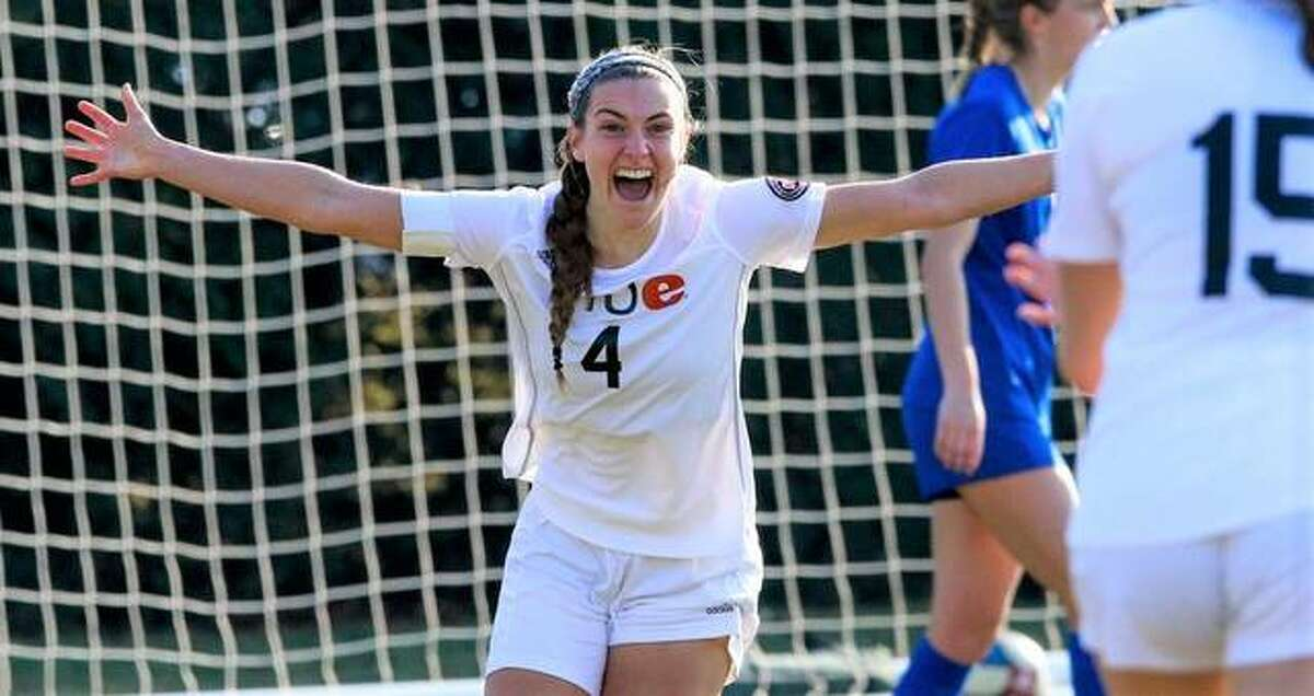 SIUE's Sarah Hibbeler, a freshman from Kansas City, celebrates a goal earlier this season. She and her teammates take a 5-0-1 record into Friday night's showdown at Korte Stadium with Murray State