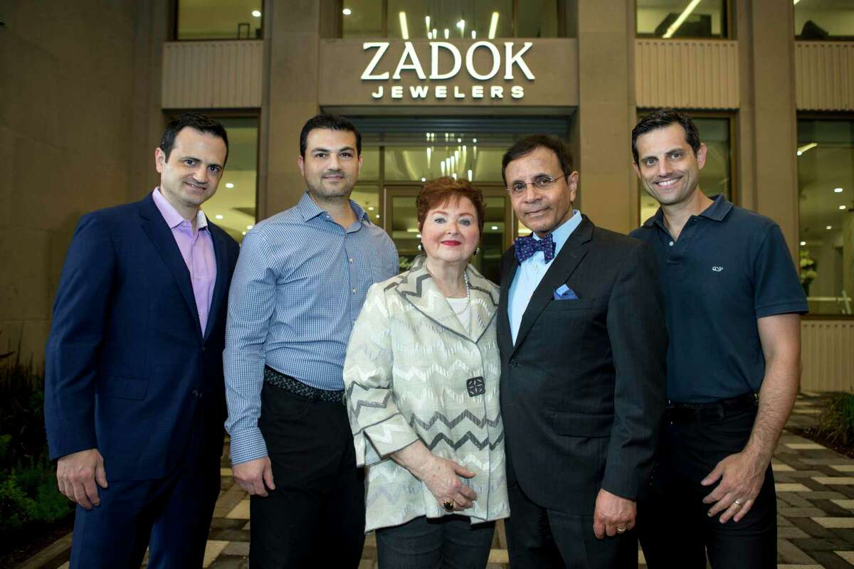 The Zadok family, from left, Gilad, Segev, Helene, Dror and Jonathan pose for a portrait outside the new Zadok Jewelers Wednesday, March 24, 2021 in Houston. The Zadok family spent the last year developing the 112,000 square foot project, even as the pandemic hit retail businesses hard throughout the city. The new mixed-use development on Post Oak Boulevard will be the new home of the two-story Zadok Jewelers, along with other high-end boutiques and restaurants.