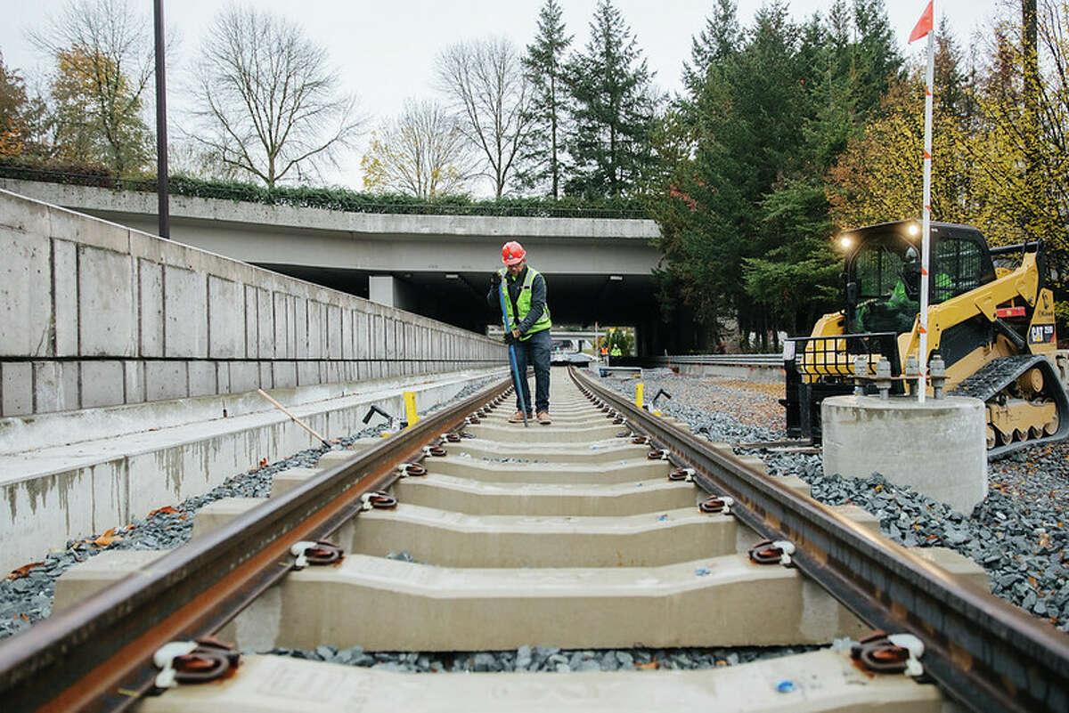 Construction progress on the Mercer Island station.