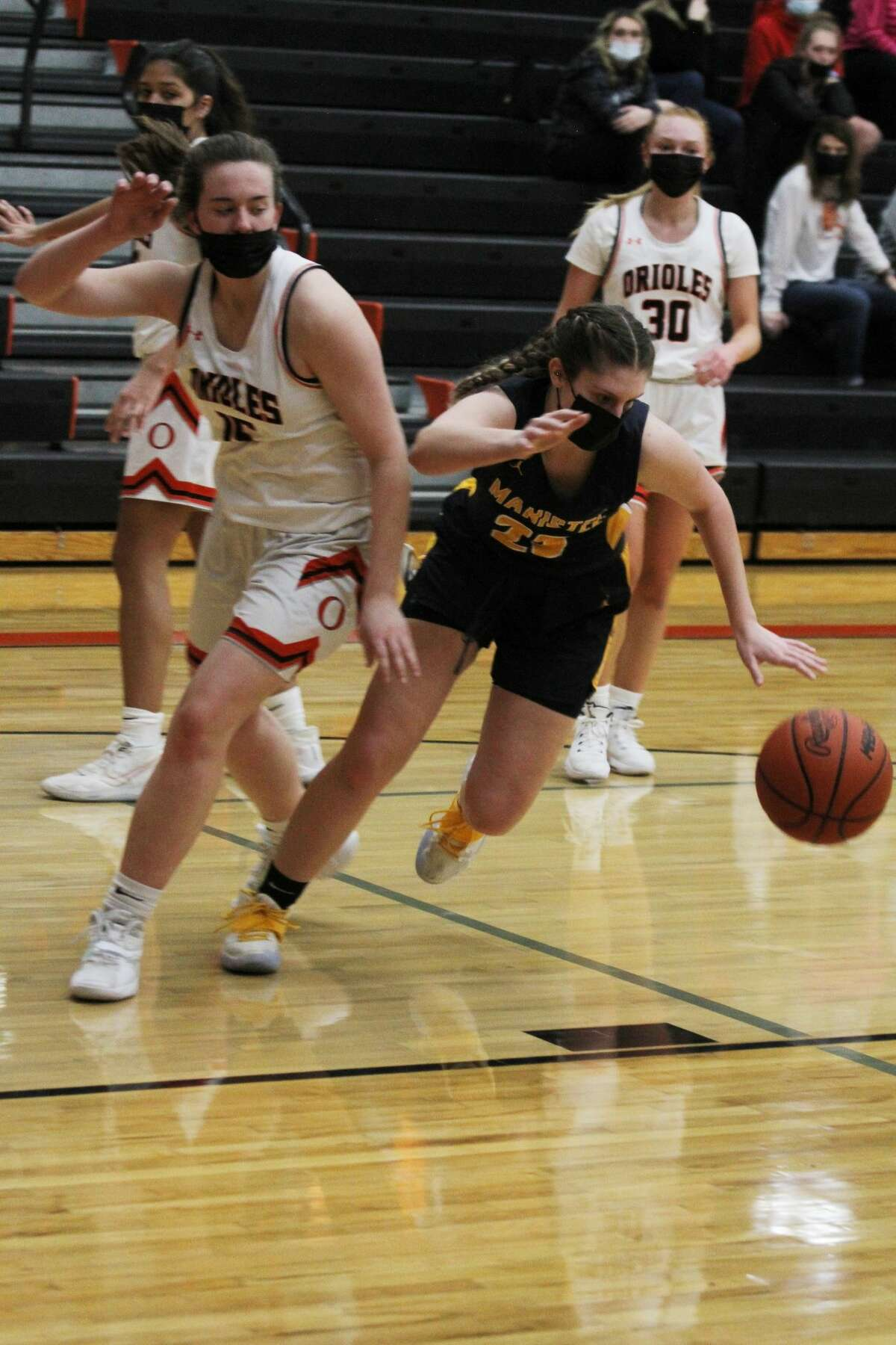 The Manistee girls basketball team fell to rival Ludington, 50-25, on Wednesday, March 24, 2021, in a Division 2 district semifinal in Kingsley.