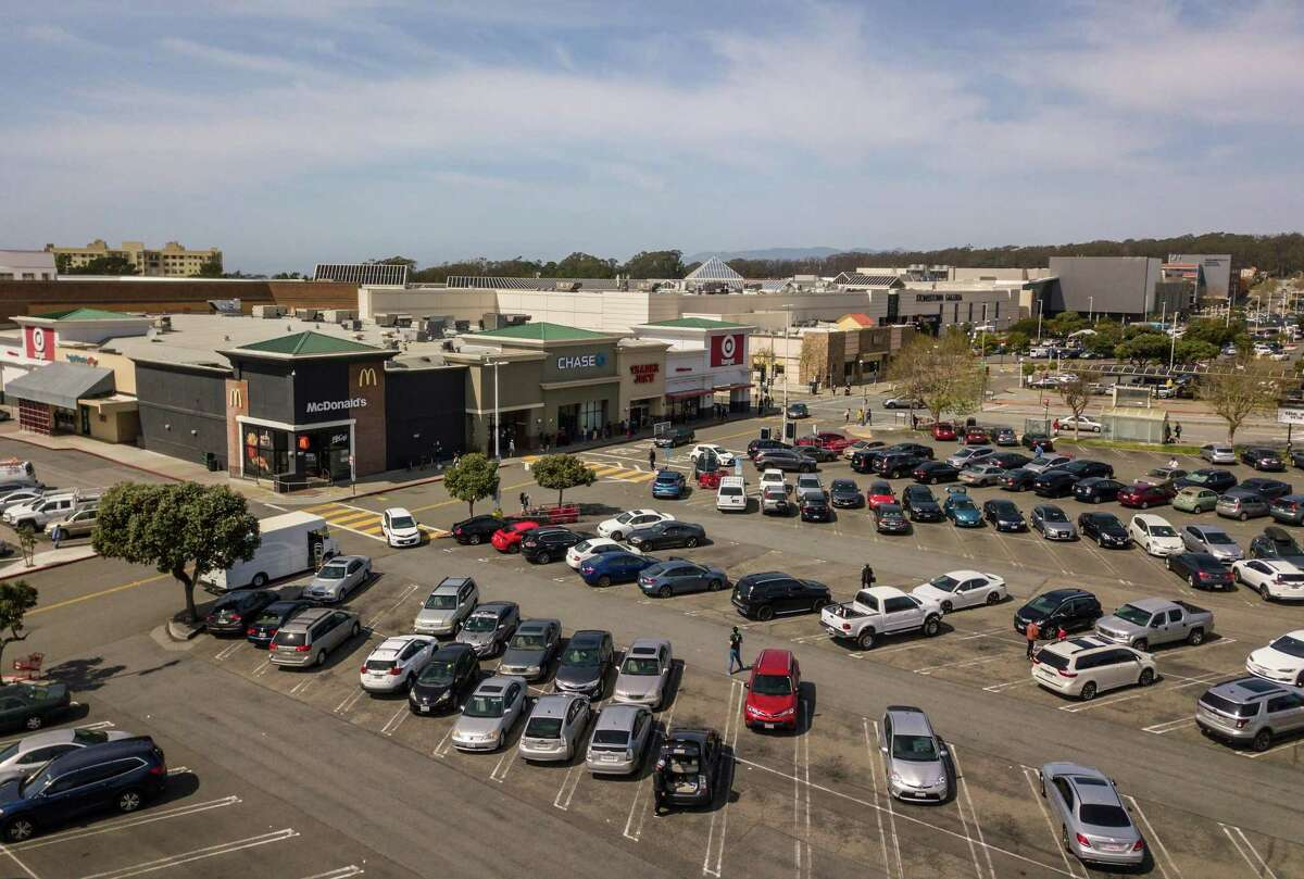 The southernmost corner of San Francisco's Stonestown Galleria will be undergoing a large-scale renovation if plans are approved. In the parking area visible lower right, two buildings, one 14-story and one 18-story, could provide residential opportunities.