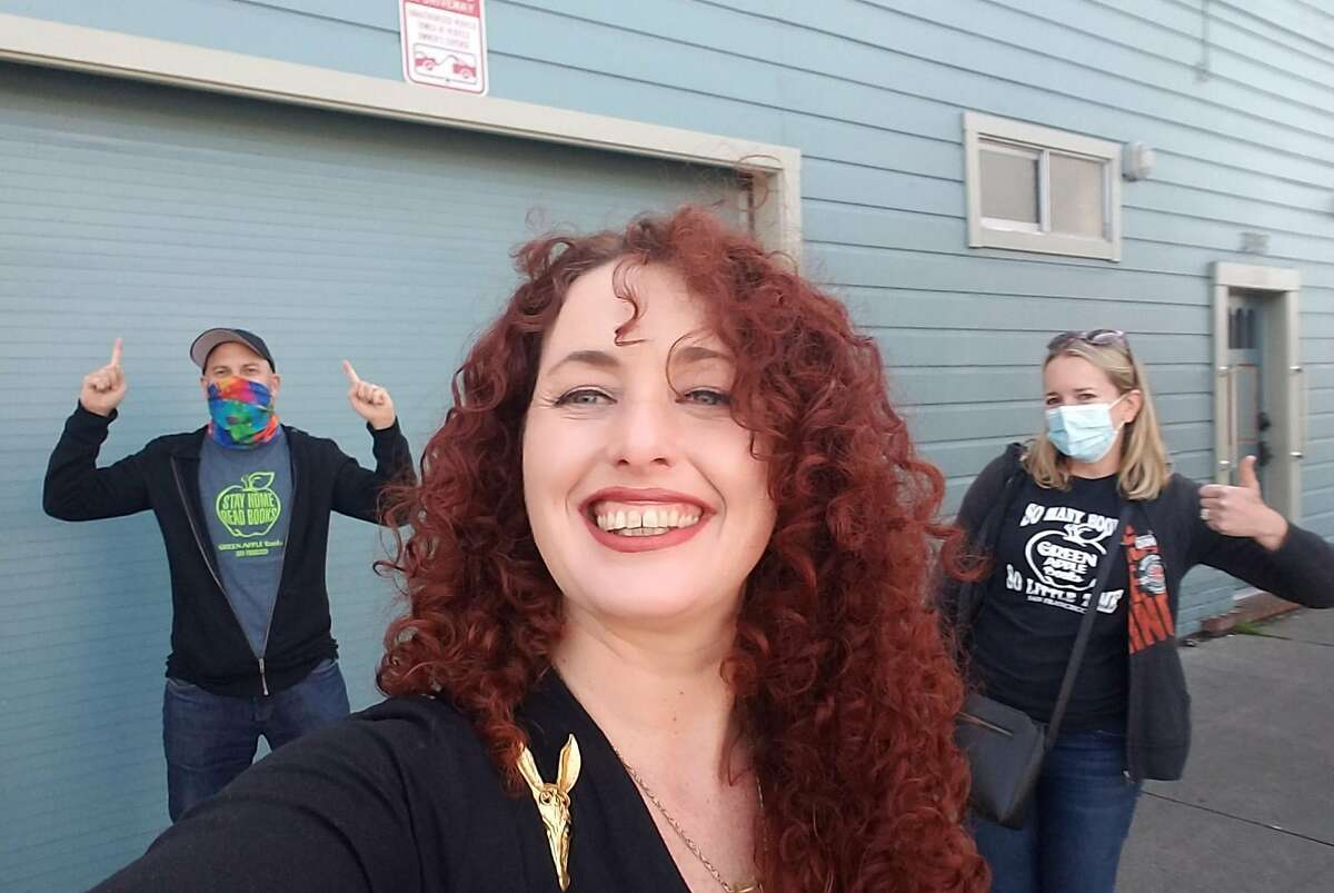 """""""Home Baked"""" author Alia Volz (center) at the former site of the Sticky Fingers marijuana brownie factory, after a Total SF podcast recording with Peter Hartlaub and Heather Knight."""