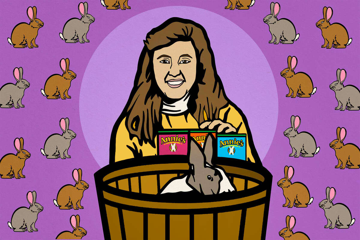 An illustration of Annie Withey and her bunny Bernie based on a photograph from the 1980s.