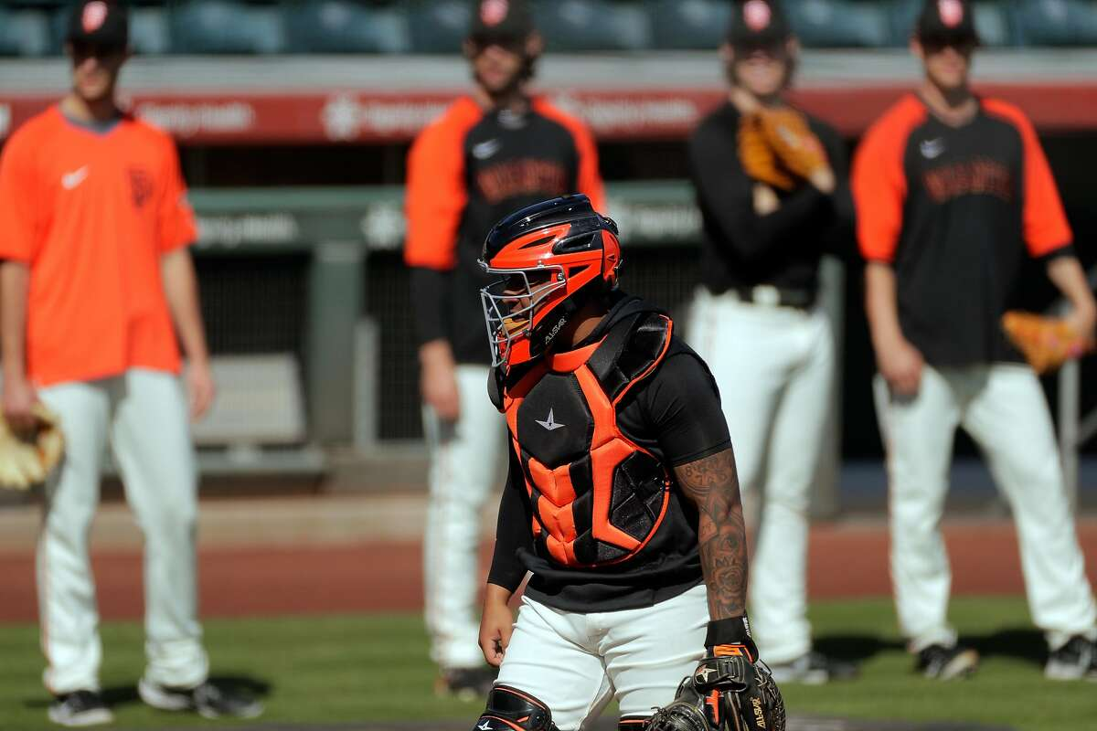 Chadwick Tromp (14) as the San Francisco Giants worked out at Scottsdale Stadium in Scottsdale, Ariz., on Thursday, March 4, 2021.