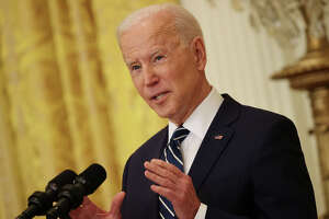 U.S. President Joe Biden talks to reporters during the first news conference of his presidency in the East Room of the White House on Thursday, March 25, 2021, in Washington, D.C.(Chip Somodevilla/Getty Images/TNS)
