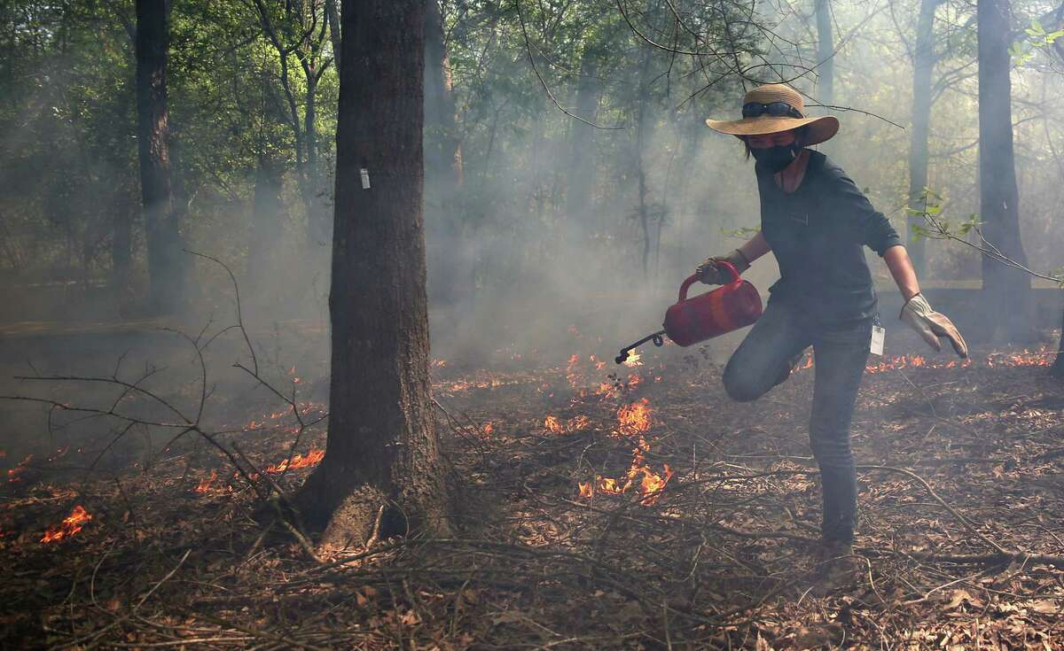 Ella Matsuda with the Houston Arboretum & Nature Center during a prescribed fire with the Houston Fire Department and Texas Parks & Wildlife Department on approximately seven acres of the savanna area in the nature sanctuary on Thursday, March 25, 2021.