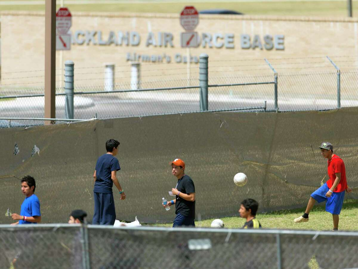 Undocumented minors lived at Lackland AFB in 2014, shown here, while waiting for their legal status to be resolved. The Pentagon this week agreed to house unaccompanied minors in a dorm at the base.
