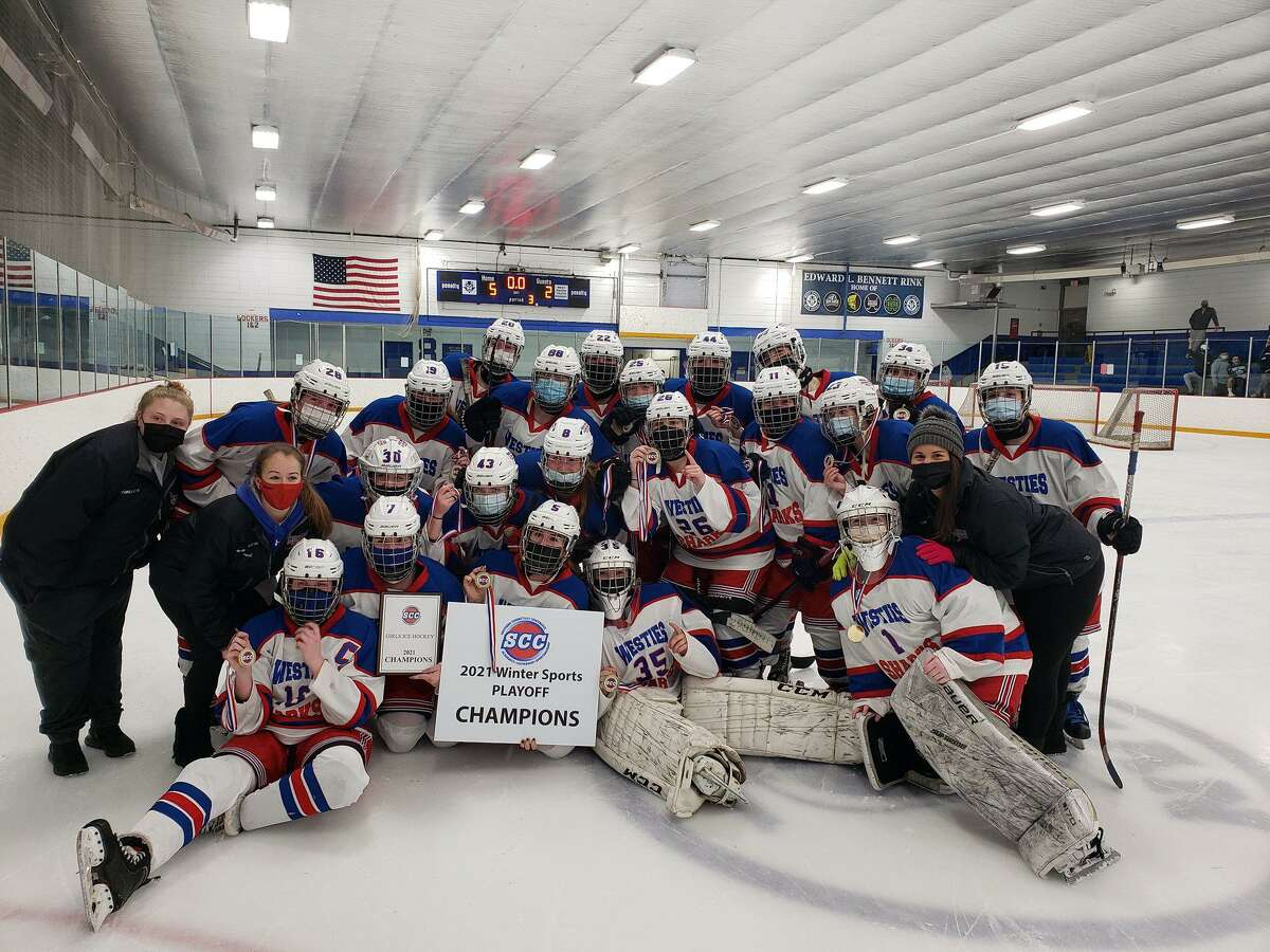 The West Haven/Sacred Heart Academy girls hockey team beat Guilford in the SCC Division I championship game on Thursday night.