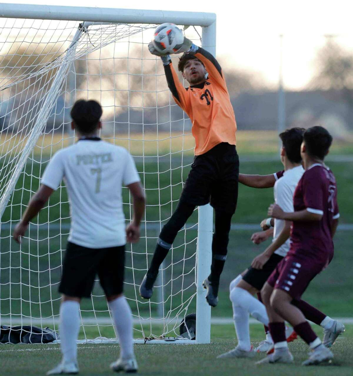 during the second period of a high school bi-distict playoff soccer match at Montgomery High School, Thursday, March 25, 2021, in The Montgomery.