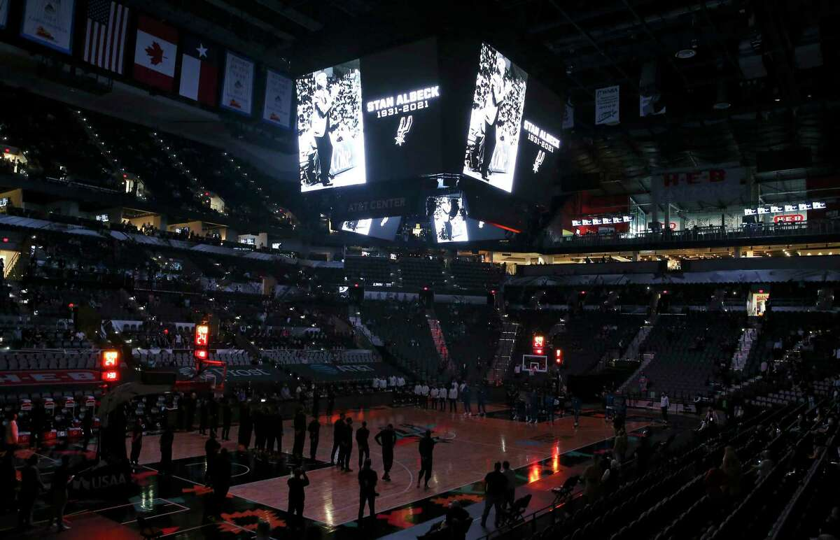 The Spurs remembered the passing of former Spurs coach Stan Albeck who coached the team from 1980 to 1983 before the team's game against the Los Angeles Clippers at the AT&T Center on Thursday, Mar. 25, 2021.