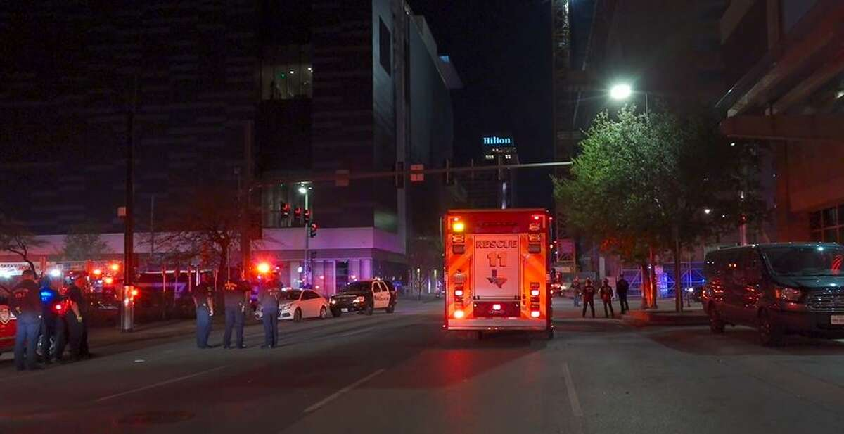 Houston authorities responded to the scene early Thursday where a man climbed into a crane.