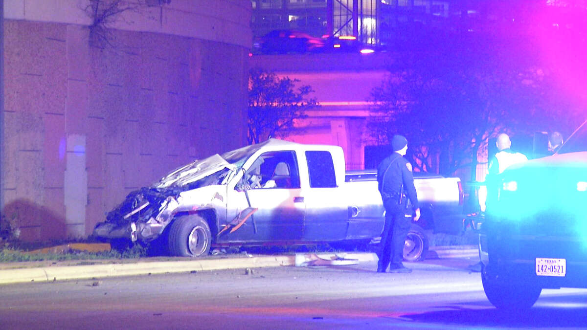 One man is dead after a crash caused his vehicle to fall off of a downtown exit ramp, San Antonio police said.