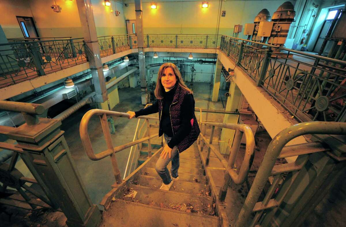 Water Pollution Control Authority General Manager Lauren Mappa poses at the facility in Bridgeport, Conn., on Tuesday Mar. 16, 2021. The city is moving ahead with long-needed, state-required upgrades of the its sewer/sewage treatment system.