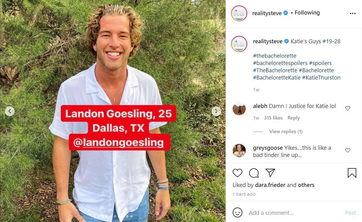 Landon Goesling, 24, from Dallas Goesling's Instagram account is also private. His bio says he is a former guard for the University of Houston, where he scored 1,000 career points and won two ACC Champions with the team. He is now a trainer. So, in short, he's athletic.