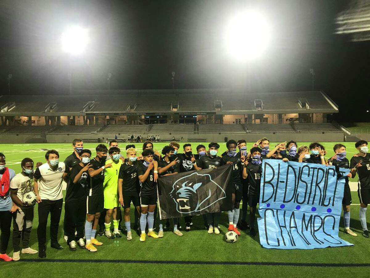 The Paetow boys soccer team celebrated the first postseason victory in school history, defeating New Caney 3-2 in the Class 5A bi-district playoffs March 25 at Legacy Stadium.