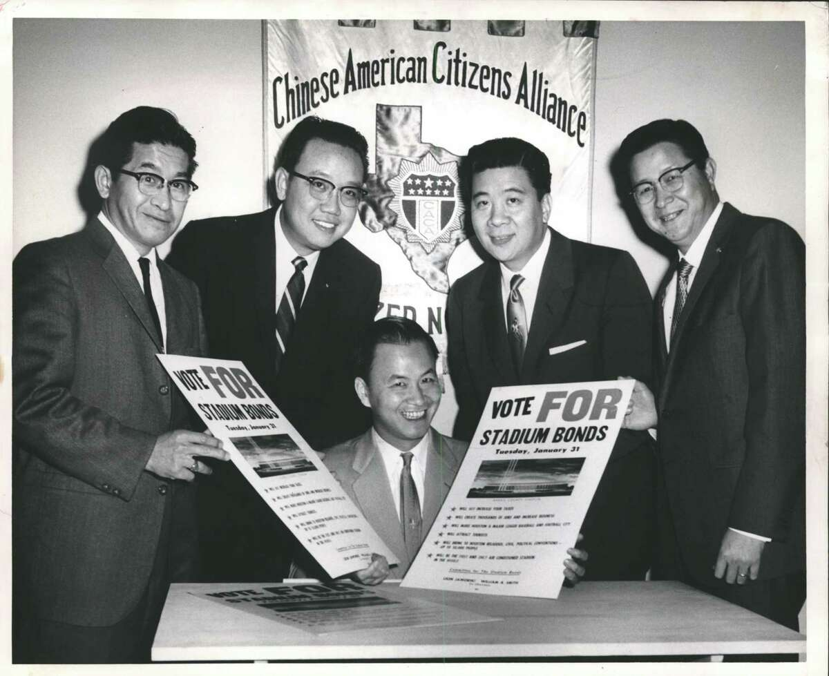 Albert Gee, second from right, is shown with other members of the Houston Lodge of the Chinese American Citizens Alliance unanimously endorsing the Jan. 31, 1961, bond issue vote to finance the Astrodome's construction.