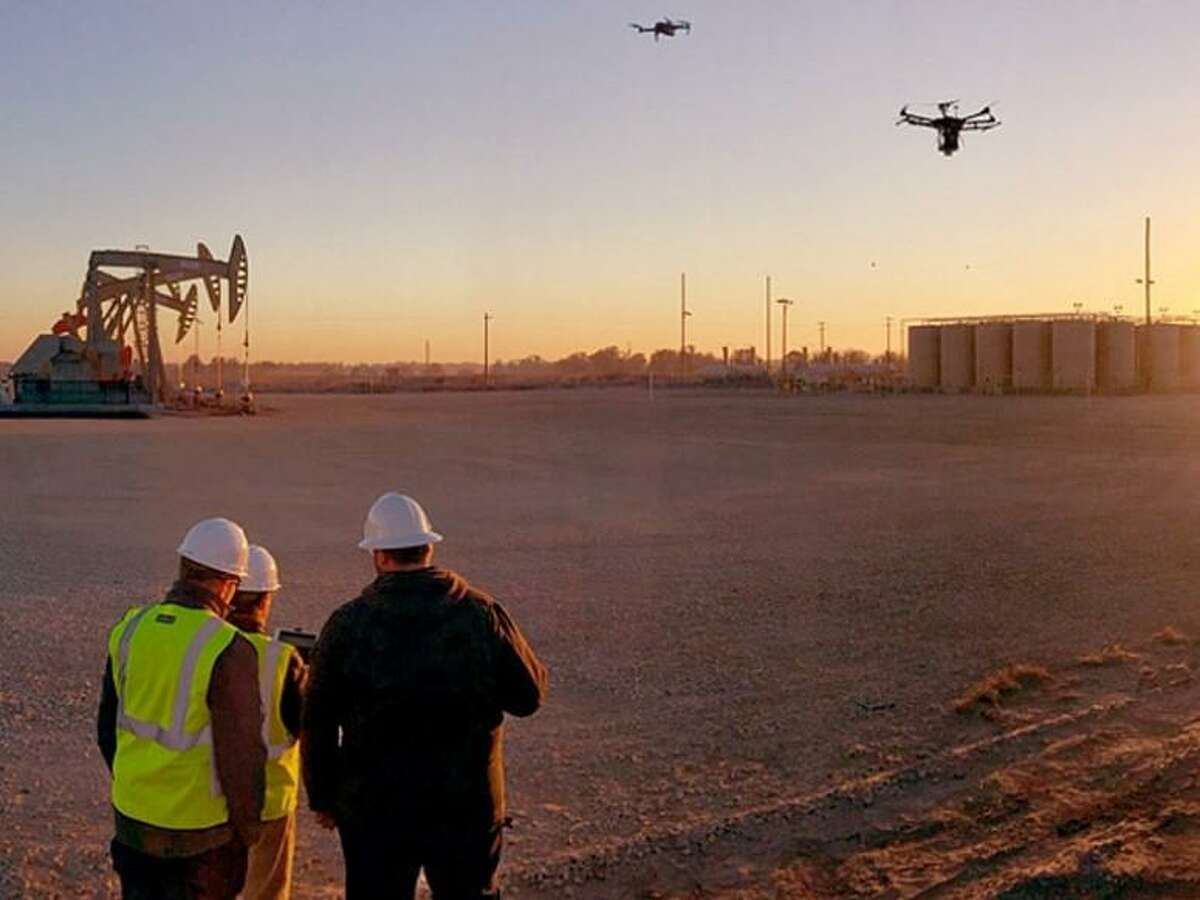 Houston oil field services company Baker Hughes has pledged to net-zero carbon dioxide emissions for its worldwide operations by 2050. Its drone, LUMEN, detects methane emissions/