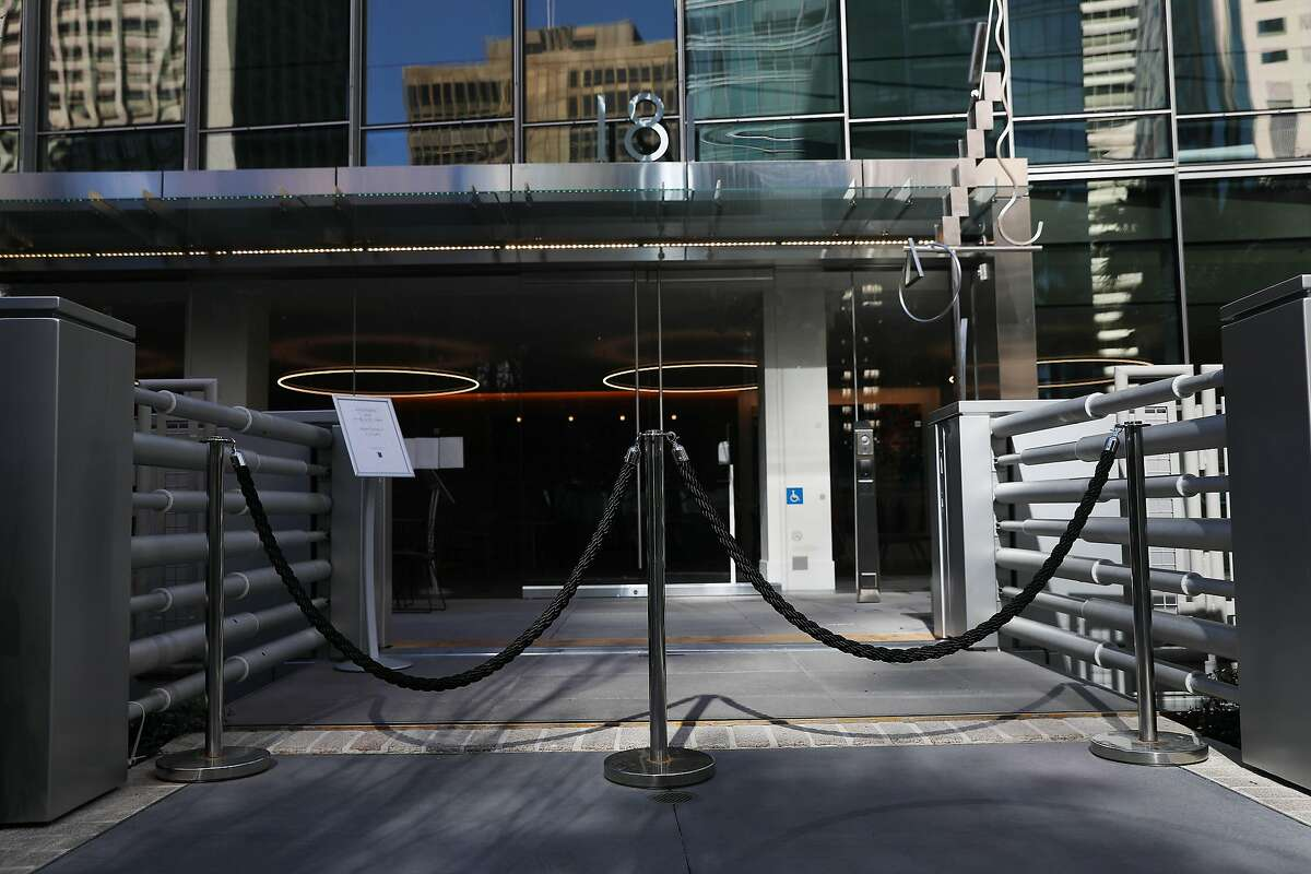 The closed entrance to 181 Fremont from Salesforce Park is seen on Friday, March 26, in San Francisco, Calif. The building is a major hub for Facebook's Instagram division. Facebook set a Bay Area office opening day of May 10 on Friday.