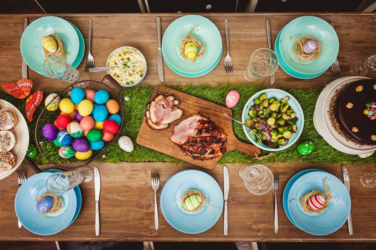 Decorated table for Easter celebration.
