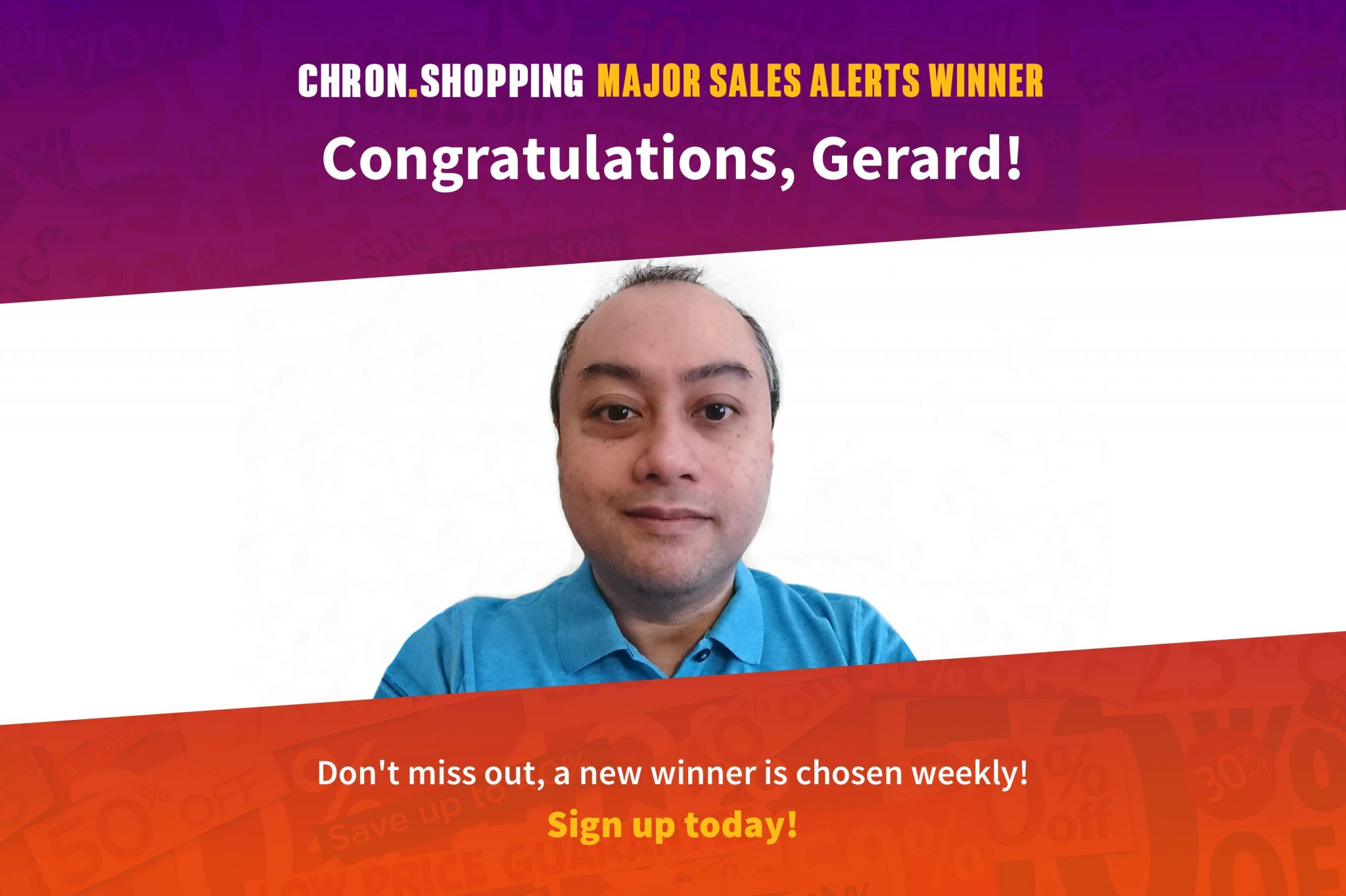 Gerard is the 7th winner of $1,000 to spend at H-E-B. Sign up for our Major Sales Alerts and you may be our final winner!