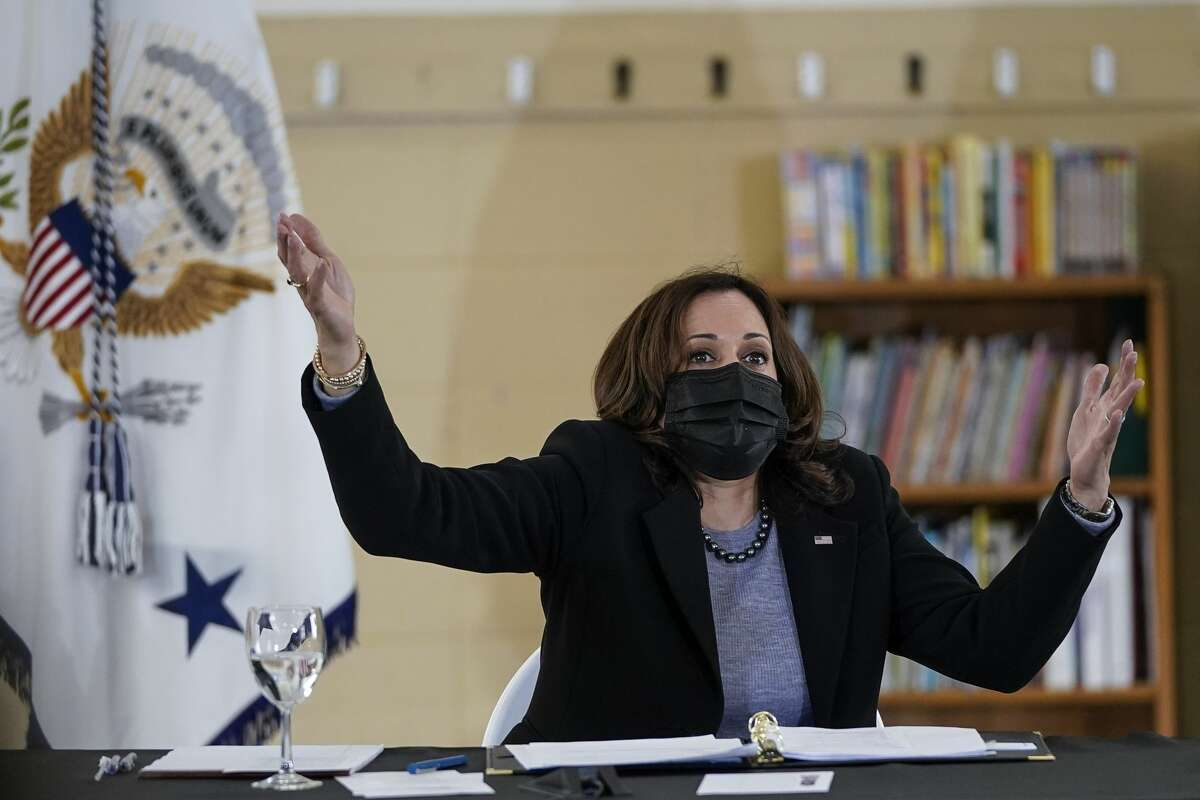 NEW HAVEN, CT - MARCH 26: U.S. Vice President Kamala Harris takes questions from reporters following a roundtable session about reducing childhood poverty at the Boys and Girls Club of New Haven on March 26, 2021 in New Haven, Connecticut. Harris is traveling to New Haven, Connecticut to promote the Biden administration's recently passed $1.9 billion federal stimulus package. (Photo by Drew Angerer/Getty Images)