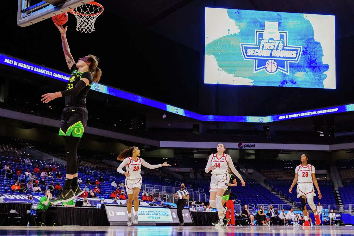 Oregon Ducks basketball player Sedona Prince skies for a shot during the NCAA Women's Basketball Tournament here. Prince revealed stark disparities between the weight rooms and food choices of male and female basketball players.