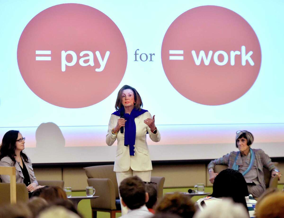 In this 2019 photo, House Speaker Nancy Pelosi leads a conversation about equal pay for women. We continue to fall far short of this goal.