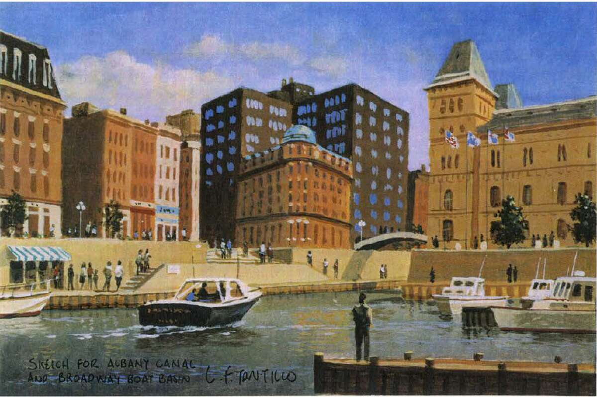 A rendering by artist Len Tantillo of his plan to build a canal through downtown Albany.