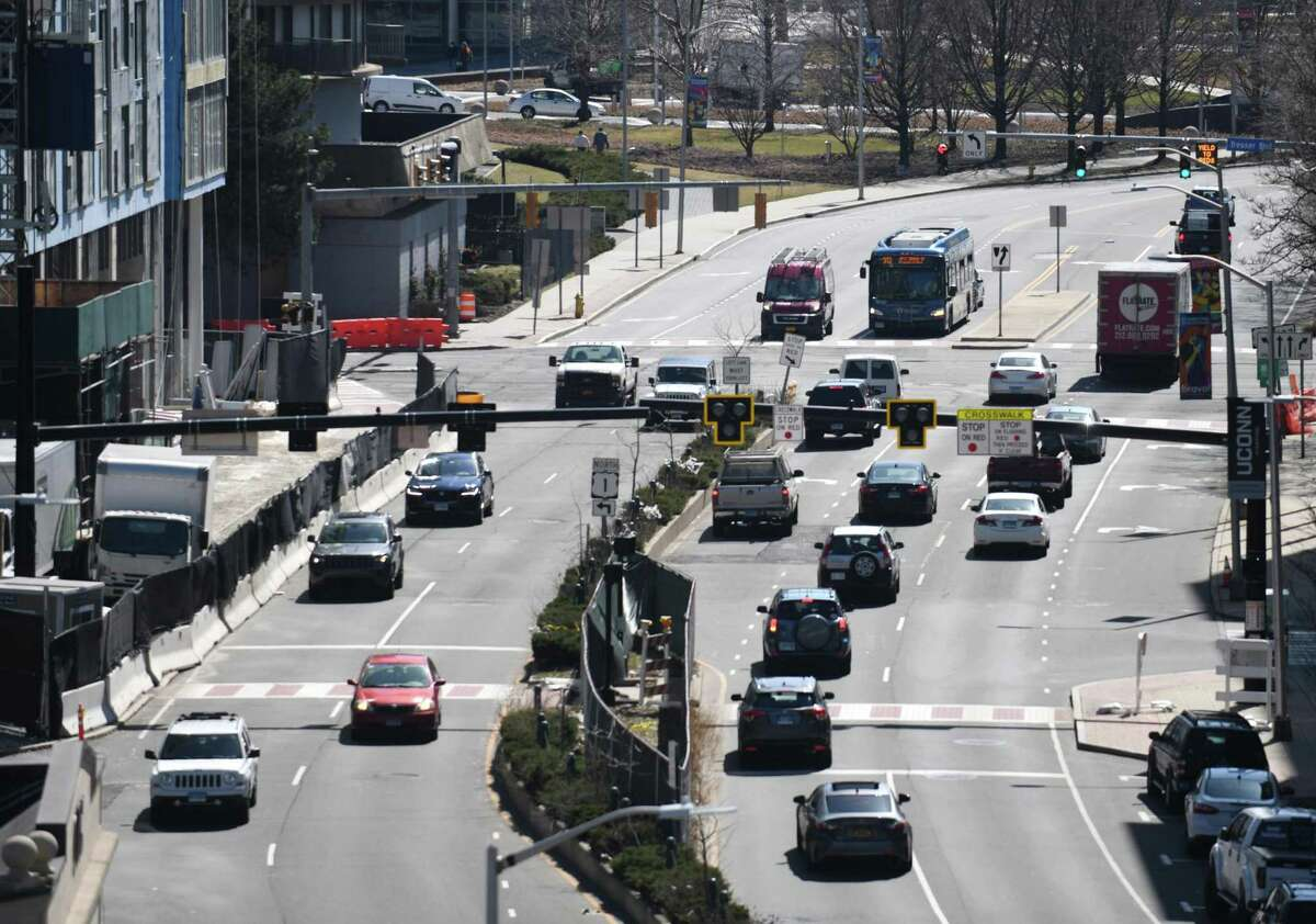 Traffic moves along Washington Boulevard in Stamford, Conn. Monday, March 22, 2021. Proposed mobility changes have been presented before the zoning board and could reconfigure traffic, bikes, and parking throughout the city.